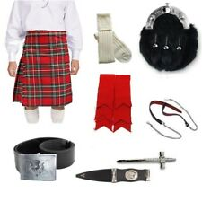 Royal Stewart Full Dress 8 Yard Kilt Package Includes Sporran, Belt & Kilt Pin.