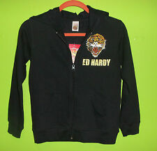 NWT ED HARDY KIDS Zip-Up Tattoo Jacket Black w/ Tiger Sz Large-12 *FREE SHIP*