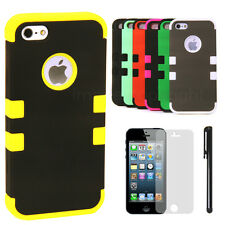 Multi Color Rugged Hybrid Case Cover For Apple iPhone 5 LTE + Screen and Stylus