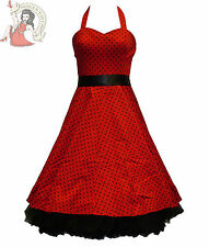 HEARTS & ROSES H&R 50's SMALL POLKA DOT rockabilly DRESS RED