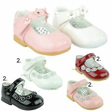 NEW BABY GIRLS WHITE PINK PATENT VELCRO PRAM SHOES WEDDING CHRISTENING SIZE 0-5