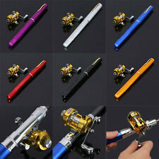 Novelty Mini Aluminum Alloy Pocket Fish Pen Shape Fishing Rod Pole + Reel