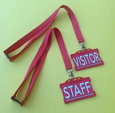 Red Lanyard  and Red Staff or Red Visitor ID Holder