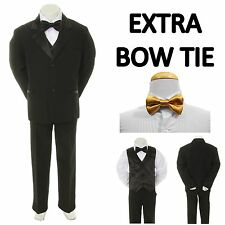 New Teen Boy Black FORMAL Wedding Prom Party Tuxedo Suit + Gold Bow Tie 16-20