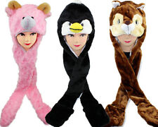 Adorable Winter Cartoon Animal Hat Cap Beanie Earmuff with Long Scarf and Gloves