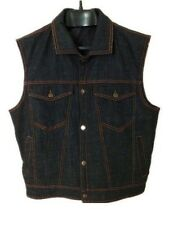Nwt CBCOOPER Mens Biker 100% Denim Black Blue Denim Vest 7 Pockets Size M
