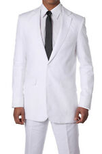 Men's 100% Linen suit with flat fronts pants, two button,two side vents Sty: 612