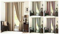 Designer Stripe Fully Lined Eyelet Curtain Pair, Whitworth Ring Top Curtains