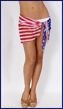 WOMEN'S JUNIORS AMERICAN FLAG SWIMWEAR COVER UP PATRIOTIC BIKINI PAREO HIP WRAP