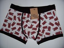 Men's White Boxer Trunks with Red Buses , Bam Pow Graphics or Cameras Print