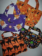 Handmade Halloween Trick or Treat Bags Cats Ghosts Candy Spiders Witches