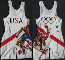 Free Olympic Torch White Wrestling Singlet Wrestling Outfit Trunk Customizable