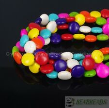 Mix Color Howlite Turquoise Side Ways 12mm Round Candy Spacer Beads 16'' Strand