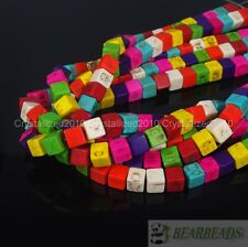 Mix Color Howlite Turquoise 8mm Square Cube Loose Spacer Beads 15.5'' Strand