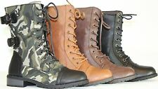 NEW Women's Fashion Round Toe Mid Calf Combat Military Lace up Buckle Flat Boots