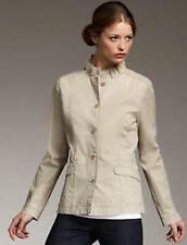 Eileen Fisher Washed Cotton Tencel Twill Ruffle Collar Jacket, Khaki NWT