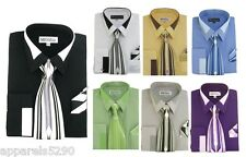 Men's French Cuff Dress Shirt with Tie and Handkerchief set 7 colors SG34