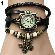 WOMEN RETRO BRAIDED LEATHER BAND BUTTERFLY BEADS BRACELET QUARTZ WRISTWATCH B82K