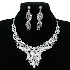 Unique Design Wedding Party Prom Jewelry Crystal Earring Necklace Set 6 Colors