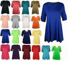 NEW LADIES  3/4 SLEEVE BUTTON STRETCH FLARE WOMENS SUMMER PLUS SIZE TSHIRT TOPS