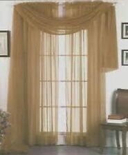 "SHEER / SCARF Window Treatments Curtains Drape Valances 63"" 84"" 95"" TAUPE TAN"