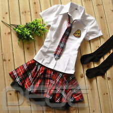 College School Girl Uniform Sailor Shirt Plaid Skirt Cosplay Outfits Costume