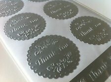 Silver THANK YOU Sticker Round Label Seal For Envelope, Bonbonniere ect