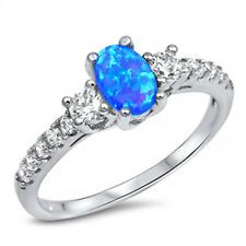 BLUE OPAL & WHITE CZ FASHION ENGAGEMENT .925 Sterling Silver Ring Sizes 4-12