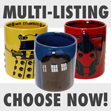 New Doctor Who TARDIS Dalek & Cyberman 2D Relief Mug Cup Tea Coffee Official Dr