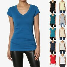 MOGAN S~3X Plain Solid Colored Short Sleeve V-NECK T-SHIRT Extended Length TOP