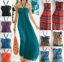 Women Beach Cover Up Dress Maxi Long Full -Length Strapless Halter Sundress