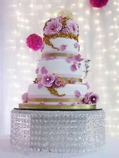 Tall Waterfall crystal cake stand for wedding cake