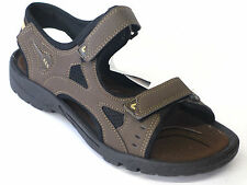 Mens Excelsior Dark Brown Summer Open Toe Sandals 2 Riptape Straps MEXCL888106B