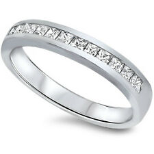 PRINCESS CUT CHANNEL CZ SET WEDDING BAND .925 Sterling Silver Ring SIZES 6-10