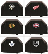 """Choose Your NHL Team 60"""" or 72"""" Heavy Duty Black Vinyl Barbecue BBQ Grill Cover"""