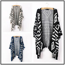 Women Oversized Batwing Sleeve Geometric Knit Cardigan Jumper Sweater Outwear B