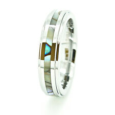 5mm Tungsten Carbide Abalone Shell Inlay Wedding Ring Sizes 4-13