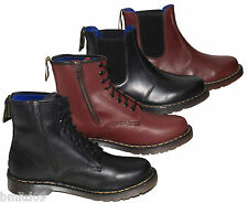 Brickers Leather Black Burgundy Lace Up Zip Pull On Chelsea Dealer Ankle Boots