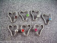 """1Pc to 4PC 14g 1/2"""" Heart Captive Ear Nipple Bead Ring CZ Pink Clear Green Blue"""