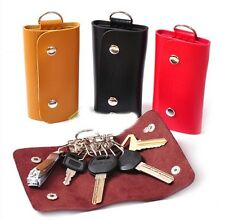 Men Lady Color Key PU Leather Keychain Holder Bag Purse Case Pouch Ring Wallet