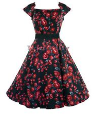 H&R LONDON 50's prom BLACK RED ROSE floral party DRESS