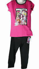 Monster High girls pyjama set in black and pink nightwear trousers and shirt