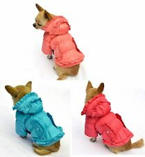 Trendy Ruffled Cold Proof Dog Coat - Puppy Clothes *Many Colours & Sizes*