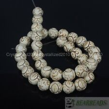 "White Howlite Turquoise Gemstone Carved Round Loose Spacer Beads 12mm 16"" Strand"