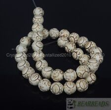 """White Howlite Turquoise Gemstone Carved Round Ball Spacer Loose Beads 12mm 16"""""""