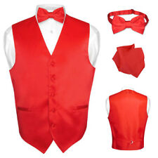 Men's Dress Vest BOWTie RED Color Bow Tie Set for Suit or Tuxedo