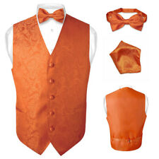 Men's Burnt Orange Paisley Design Dress Vest and BOWTie Set for Suit or Tuxedo