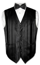 Men's Dress Vest & BOWTIE BLACK Striped Woven BOW TIE Design Set