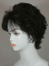 Dark Brown Short Wavy Hair Wig, Monofilament Top, Lightweight, Layered w/Bangs