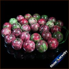 Natural 12mm / 14mm round Red and Green Ruby Zoisite Gemstones loose beads